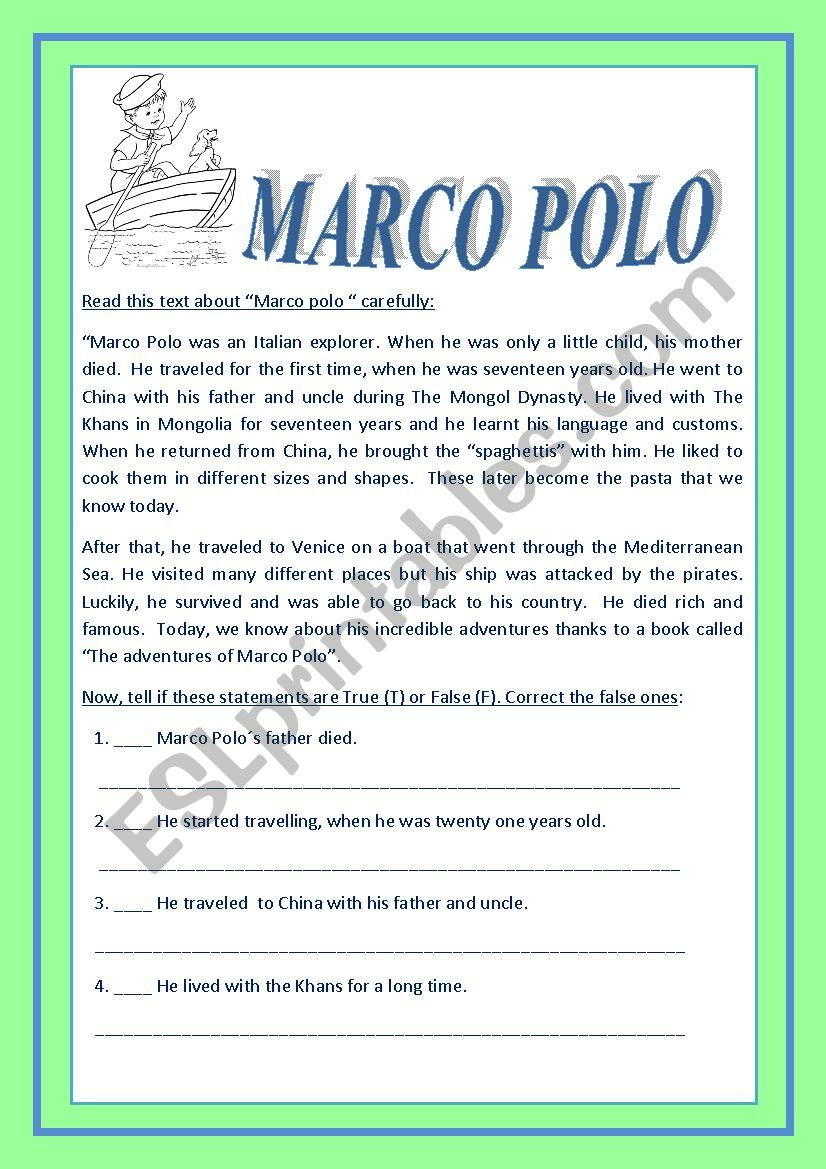 Do you know who bring the Spaghettis from China.? MARCO POLO. - ESL ...