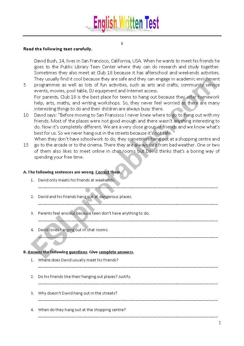 Hanging out - Test worksheet