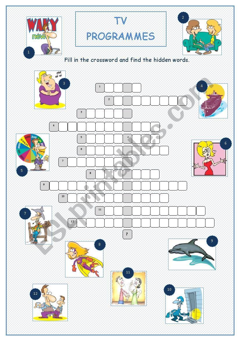 TV Programmes (Crossword) worksheet