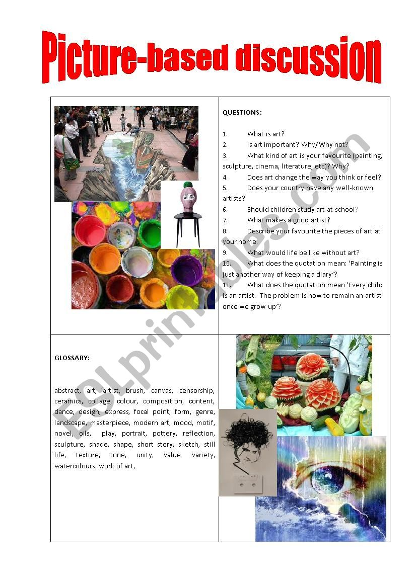 Picture-based discussion art worksheet