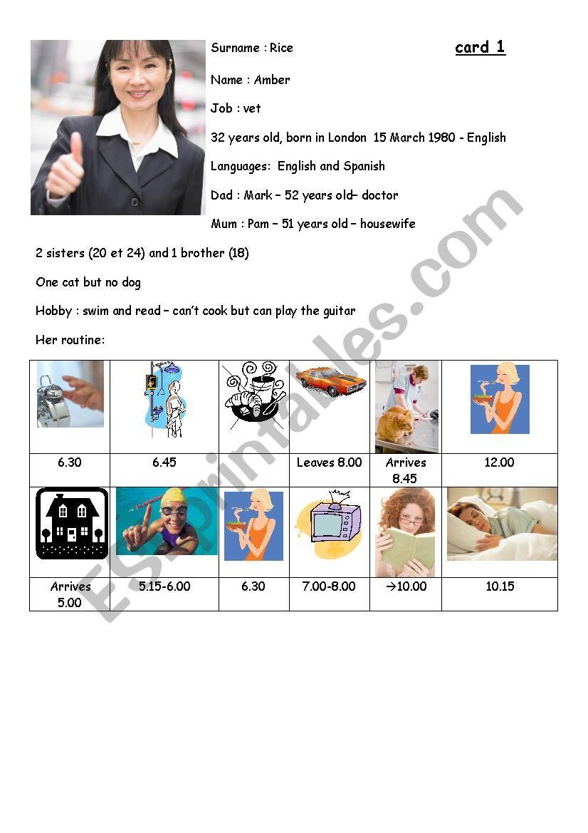 Speaking exam card 1 worksheet