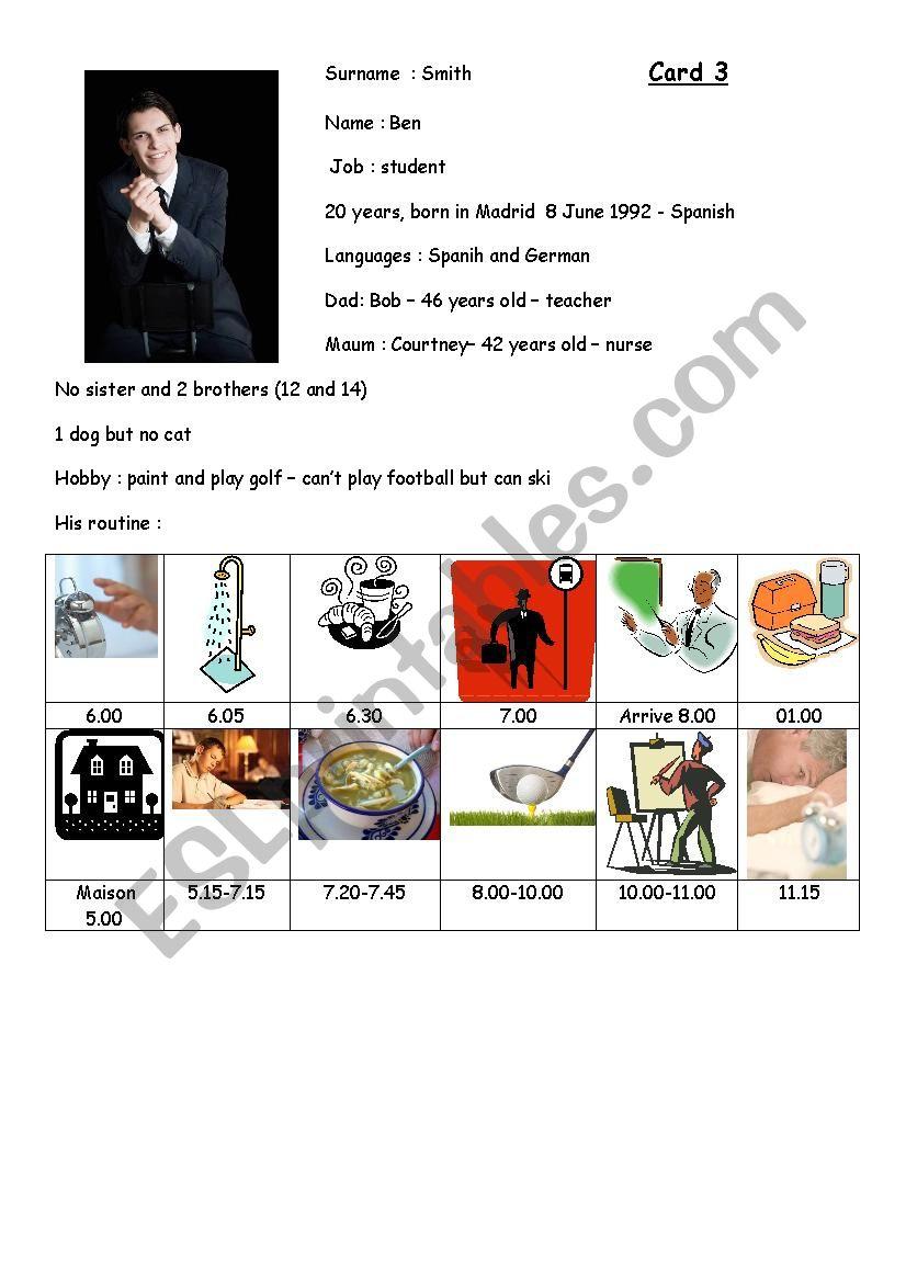 Speaking exam card 3 worksheet