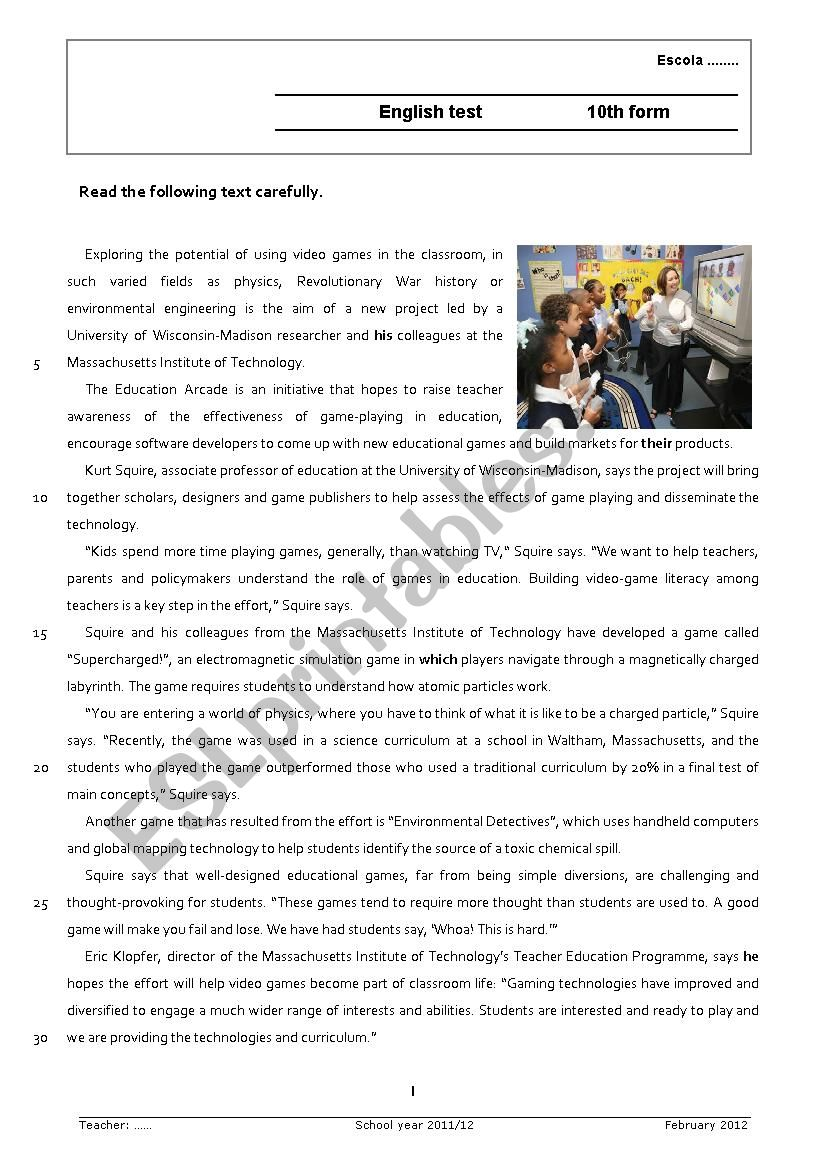 Video games in the classroom worksheet