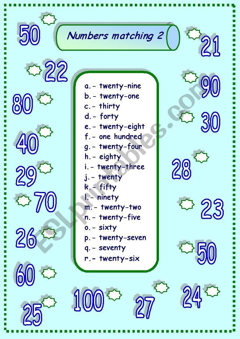 numbers matching 2 - ESL worksheet by esti1975