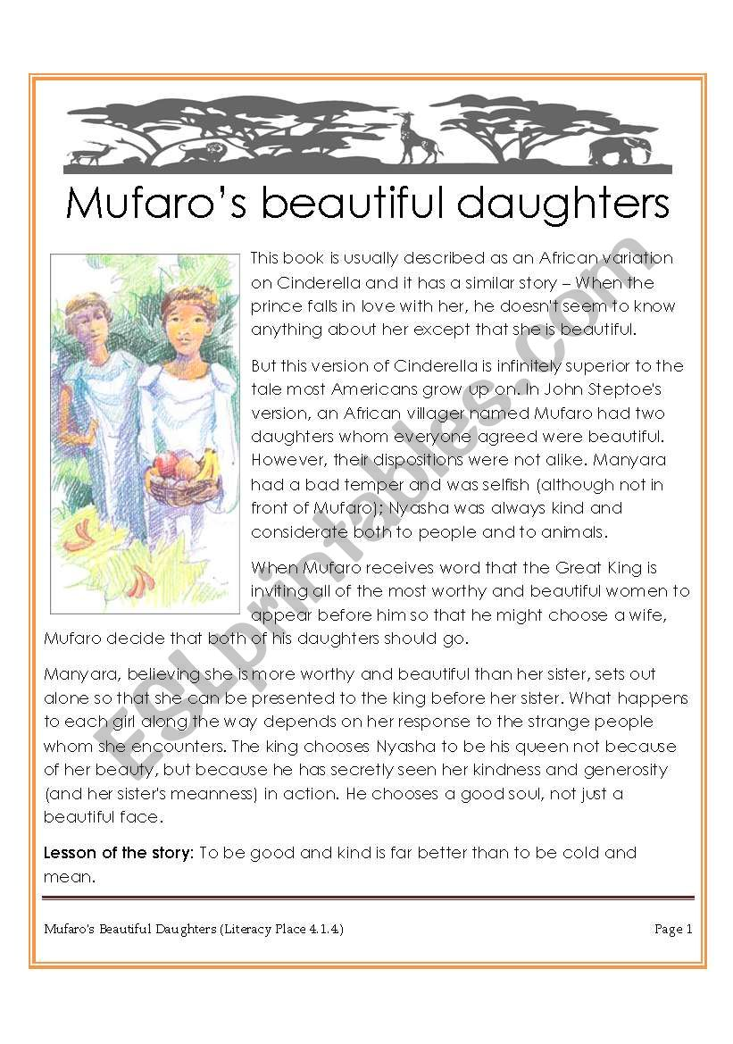 picture relating to Cinderella Story Printable known as Mufaros daughters (Award-successful African variation of