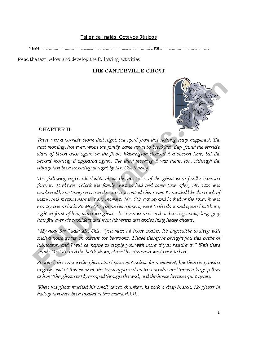 THE CANTERVILLE GHOST worksheet