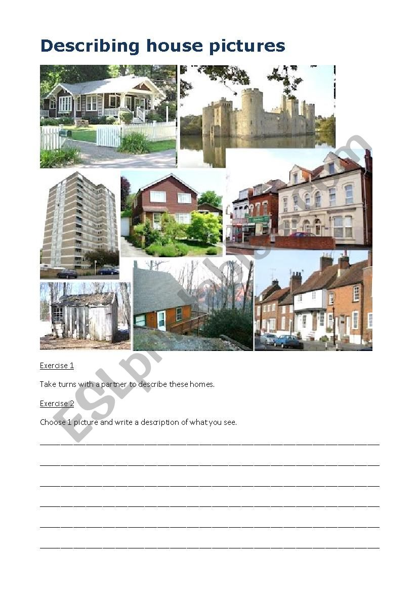 Describing House Pictures worksheet