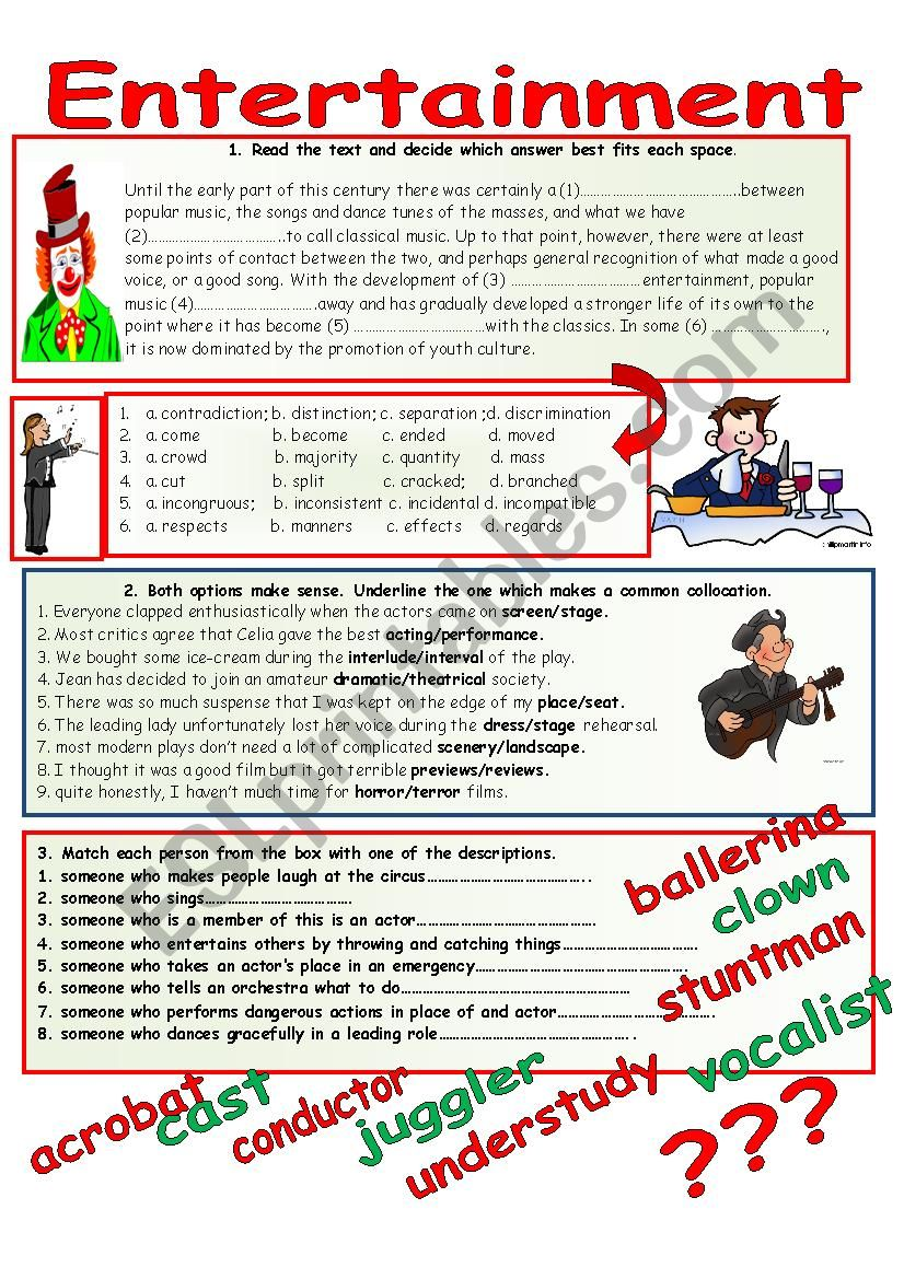 ENTERTAINMENT. worksheet