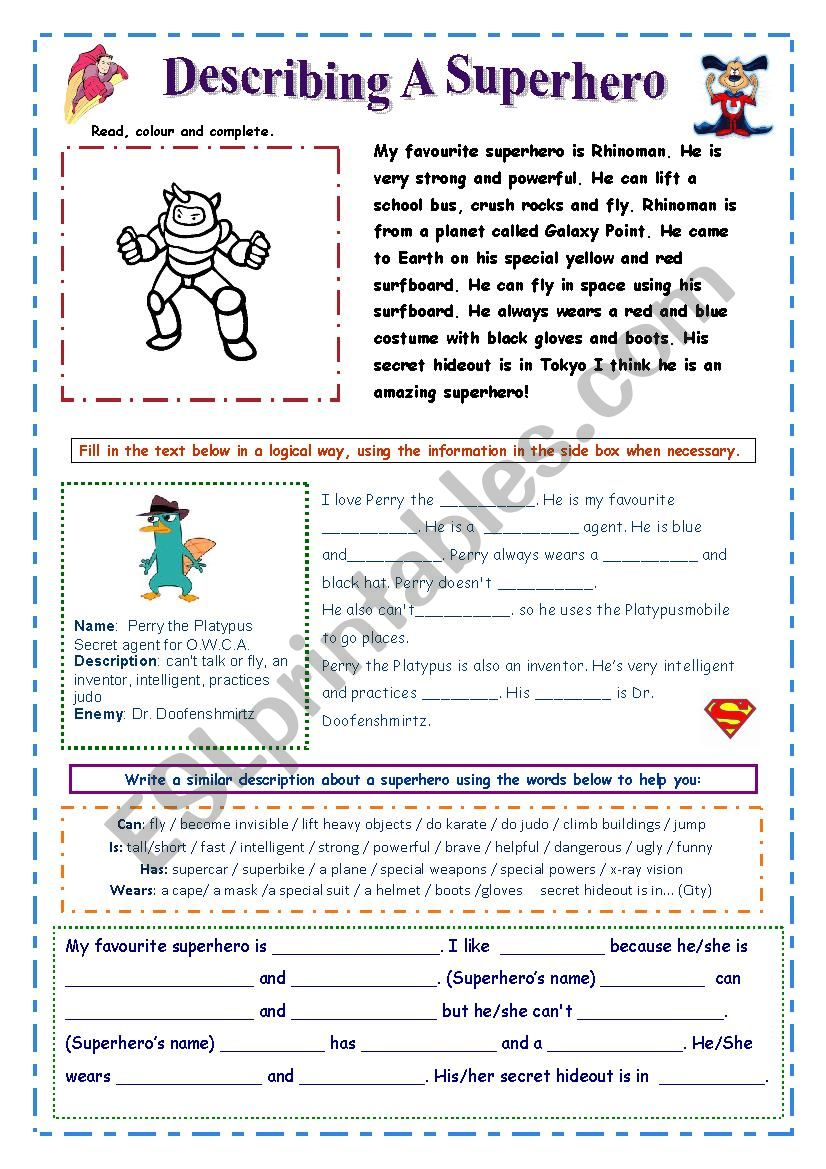Describe a Superhero (easy) worksheet