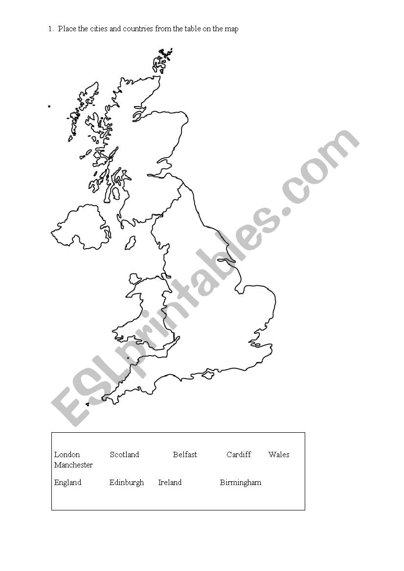 Cities Of Uk Map.Uk Map Countries And Cities Esl Worksheet By Andaluzja30