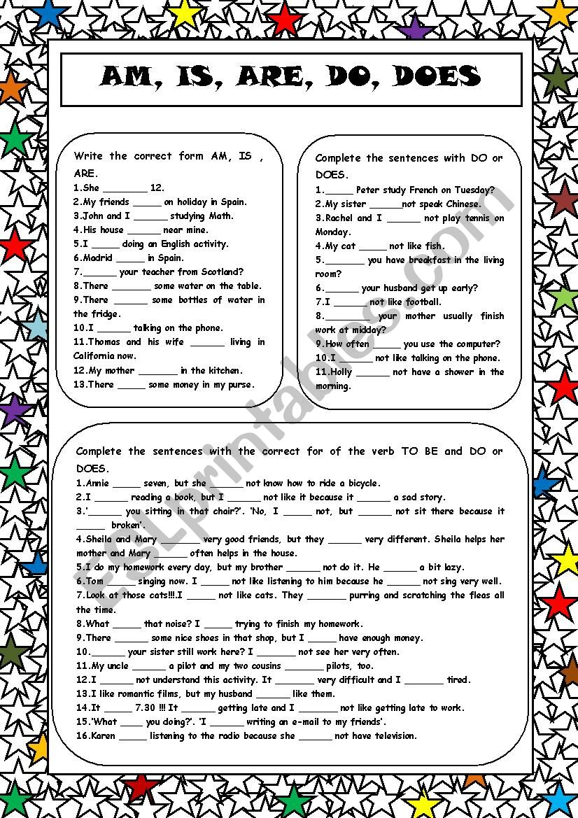 Am, Is, Are, Do, Does worksheet