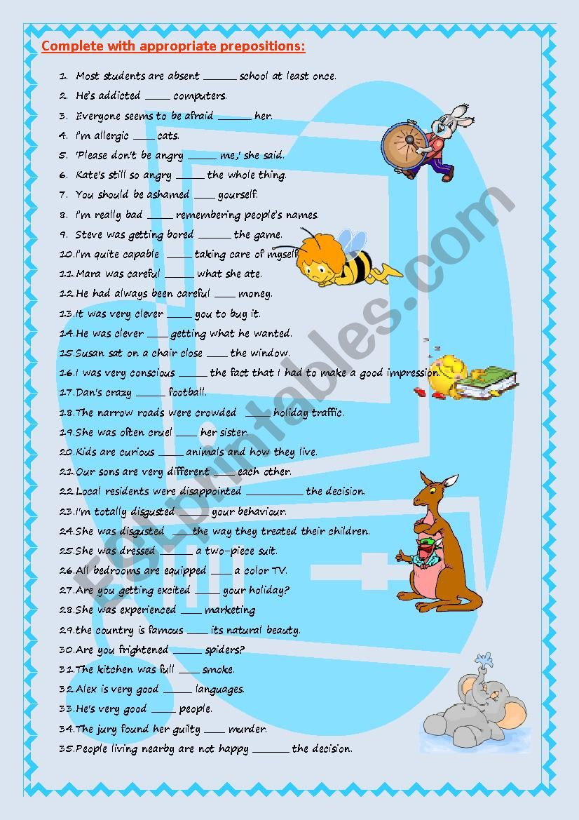 Adjectives followed by prepositions (key included)