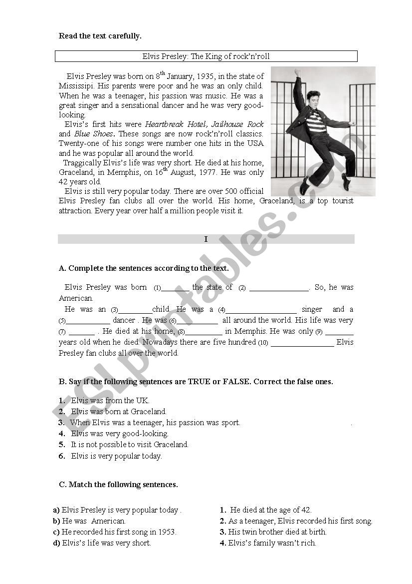 Global test  6th form worksheet