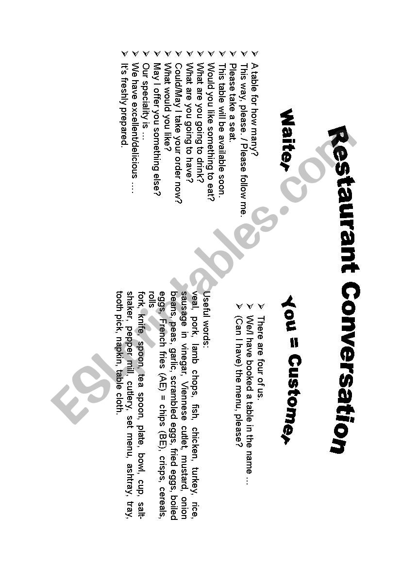 Restaurant Dialogues - ESL worksheet by skkb