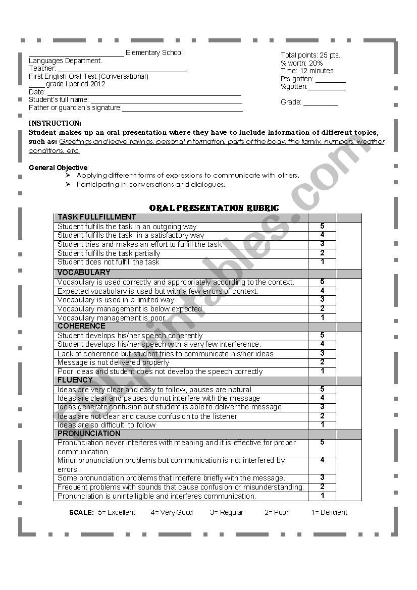 Oral Evaluation Rubric Esl Worksheet By Miguel Pz