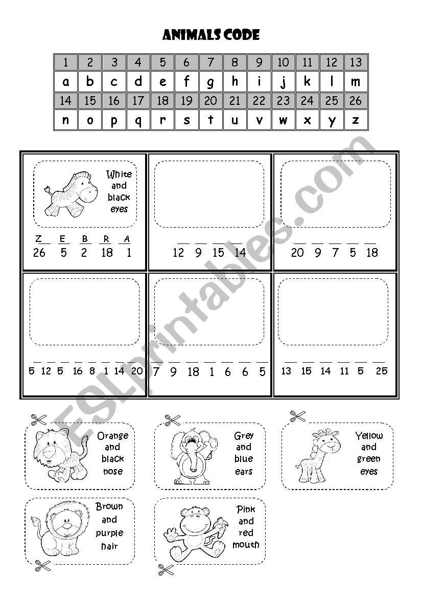 Animals code worksheet