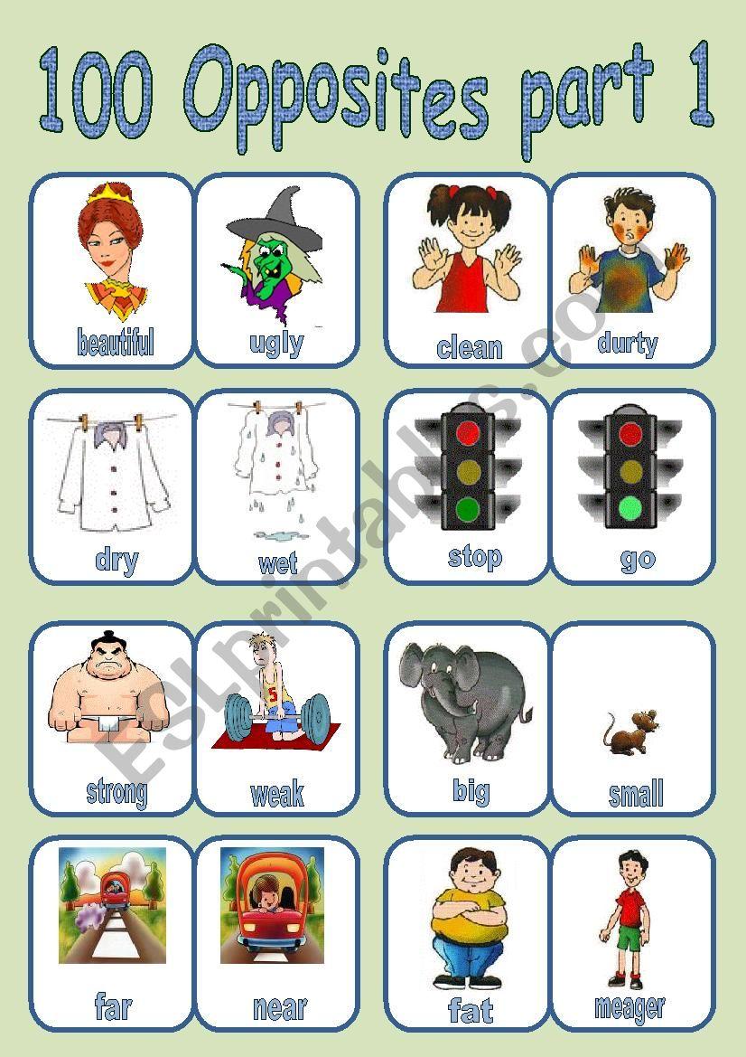 100 OPPOSITES PART 1 OF 7 worksheet