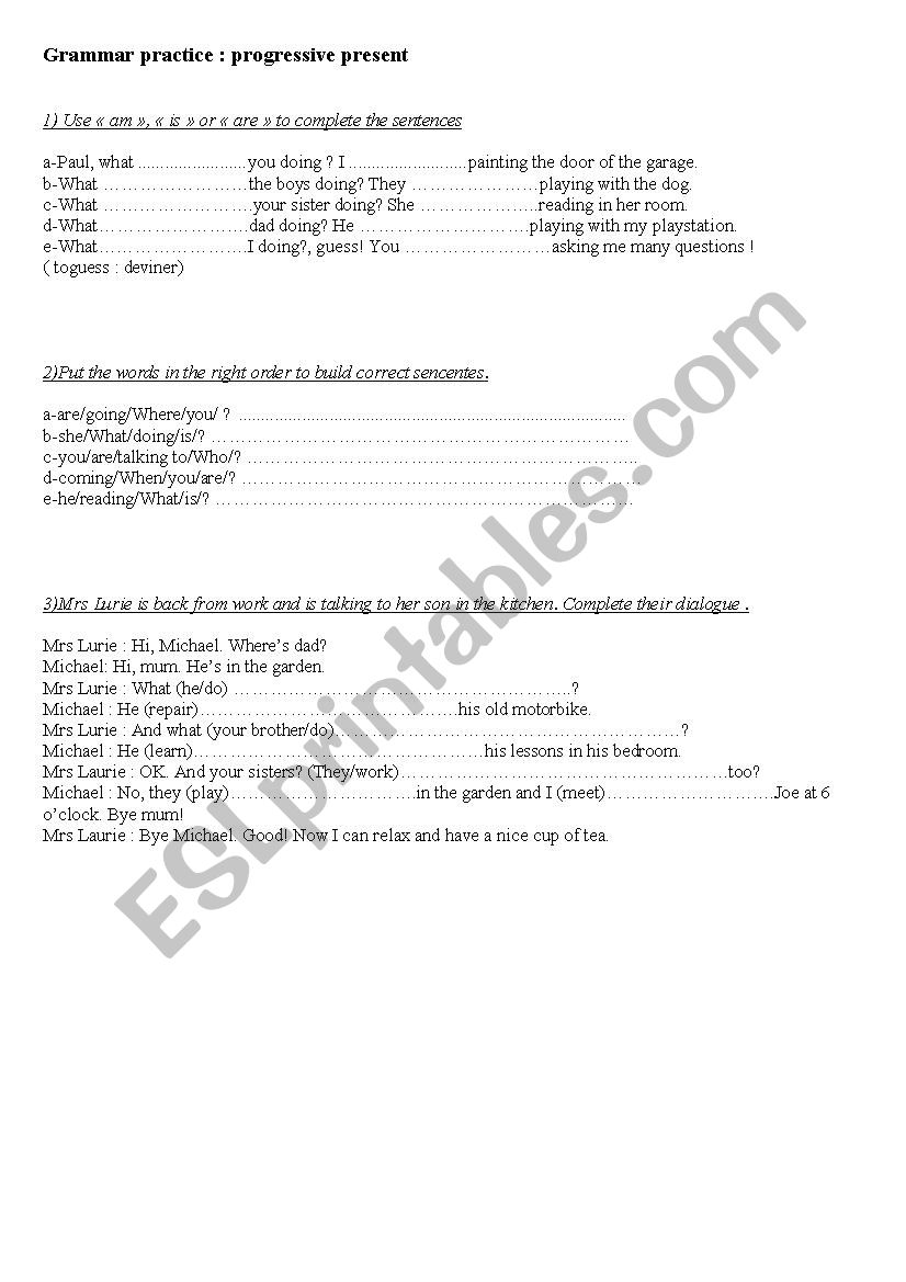 Present continuous exercises worksheet