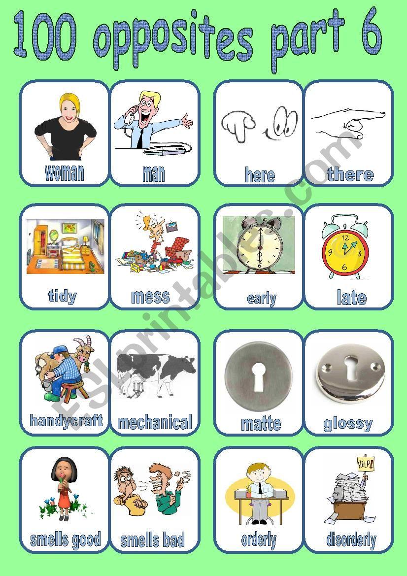100 OPPOSITES PART 6 OF 7 worksheet