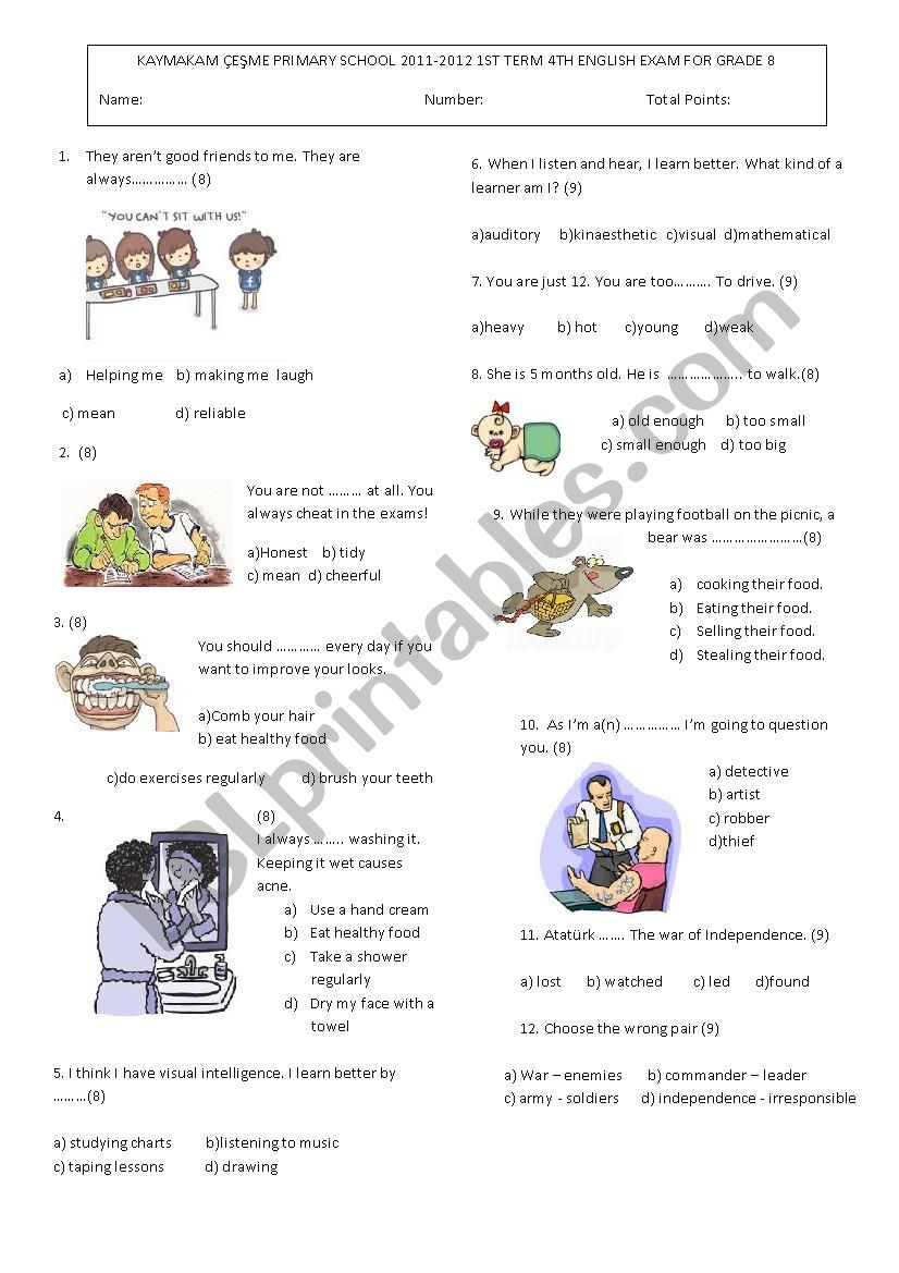 8th Grade Multiple Choice Test ESL Worksheet By Inciska