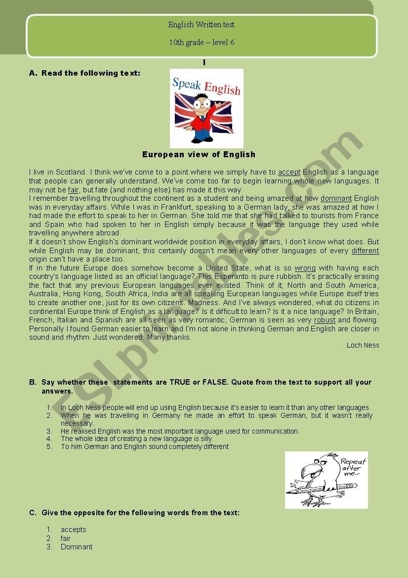 European view of English worksheet
