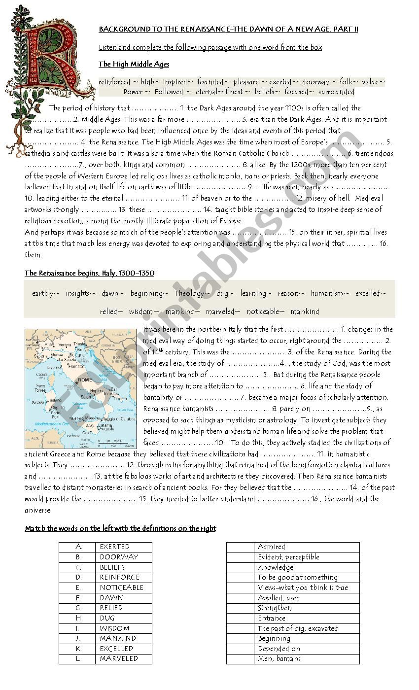 BACKGROUND TO THE RENAISSANCE PART II ESL Worksheet By