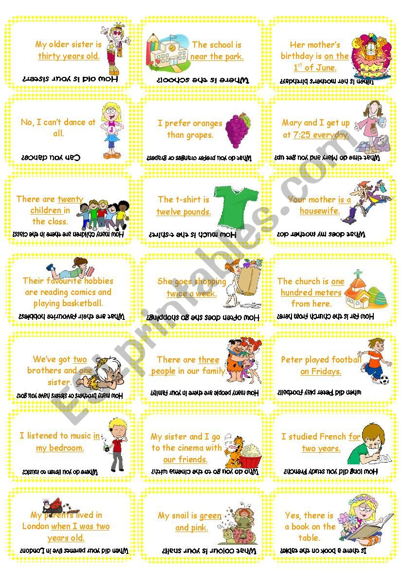 Make the question Card  game (set 1)