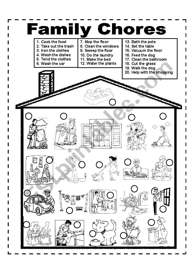 Family Chores - Family Duties worksheet