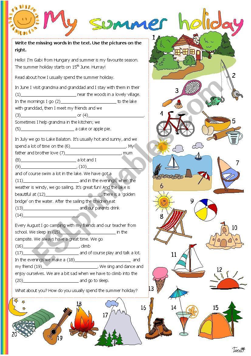 My summer holiday - ESL worksheet by Tecus