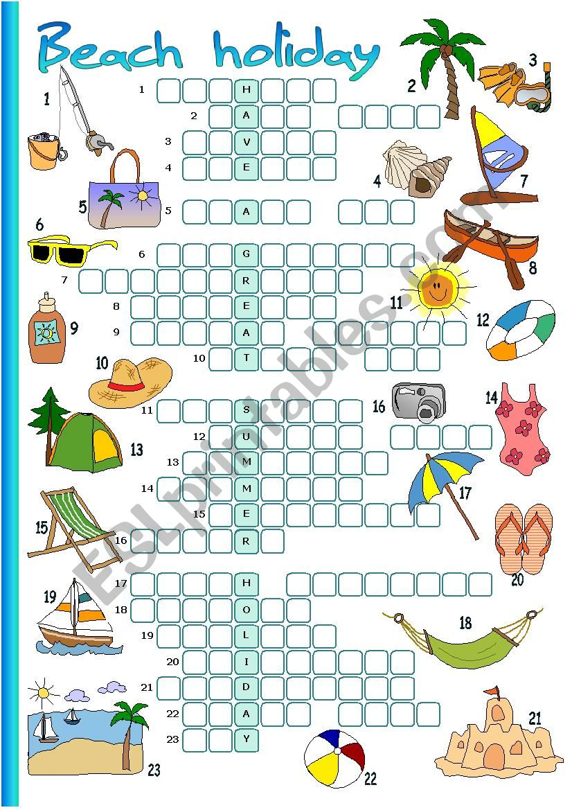 Beach holiday worksheet