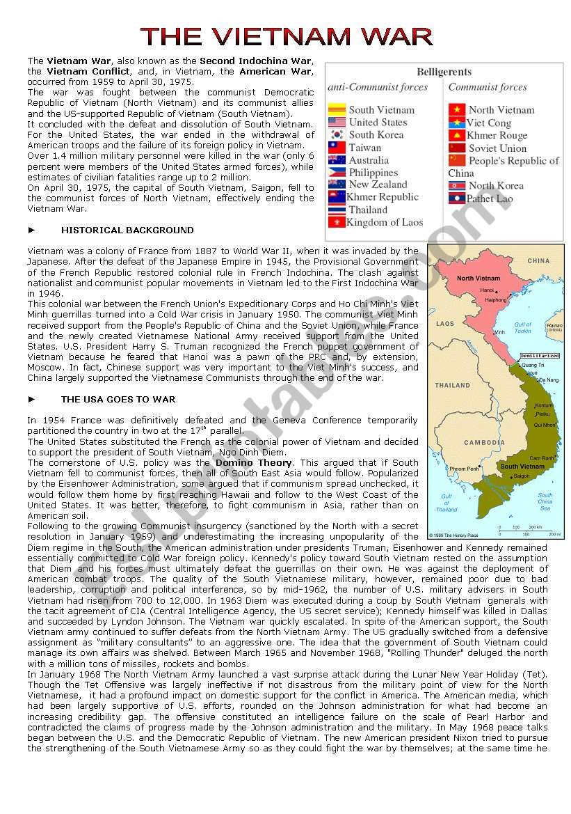 THE VIETNAM WAR READING COMPREHENSION - ESL worksheet by cerix64