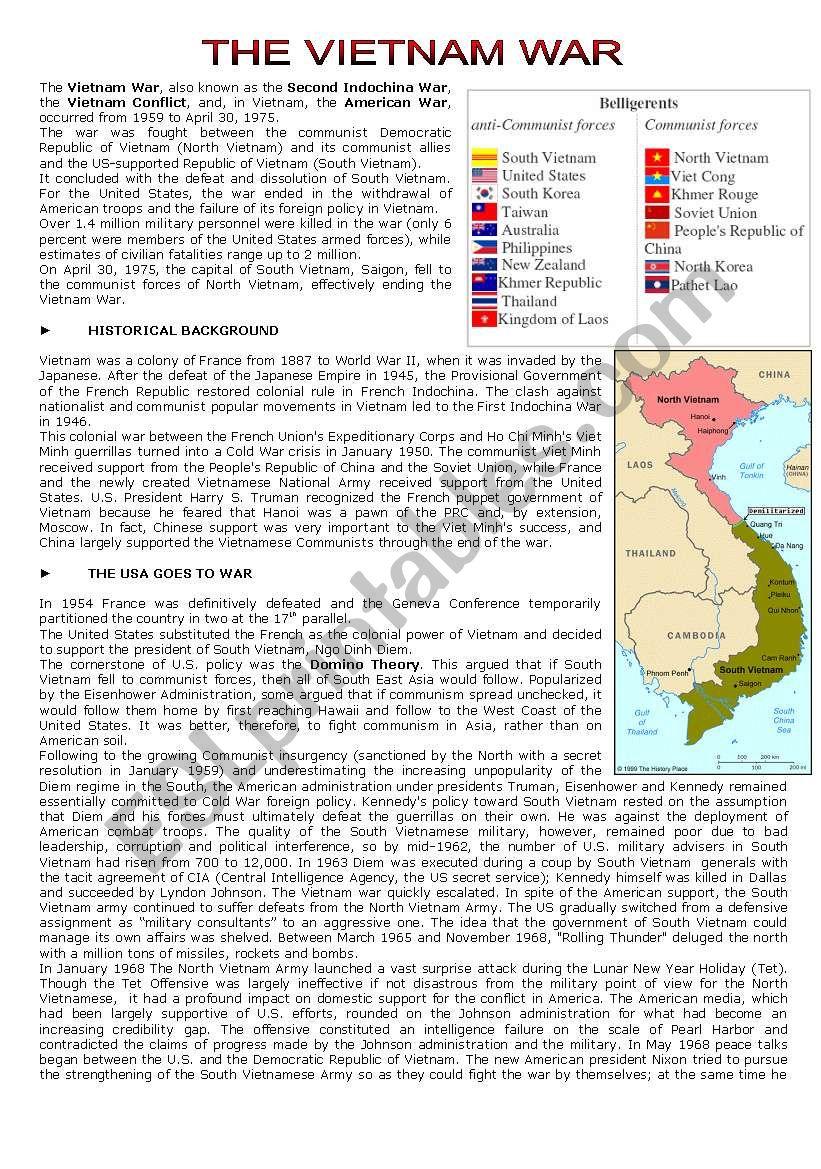 worksheet Vietnam War Worksheet english worksheets the vietnam war reading comprehension comprehension