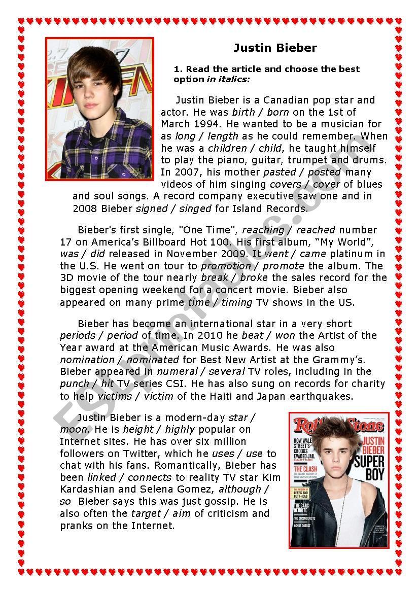 Justin Bieber worksheet