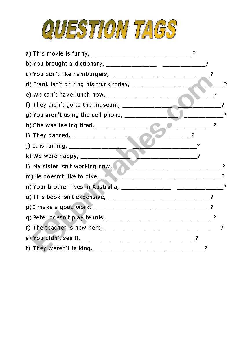 Question tags - ESL worksheet by Nayane Thewes