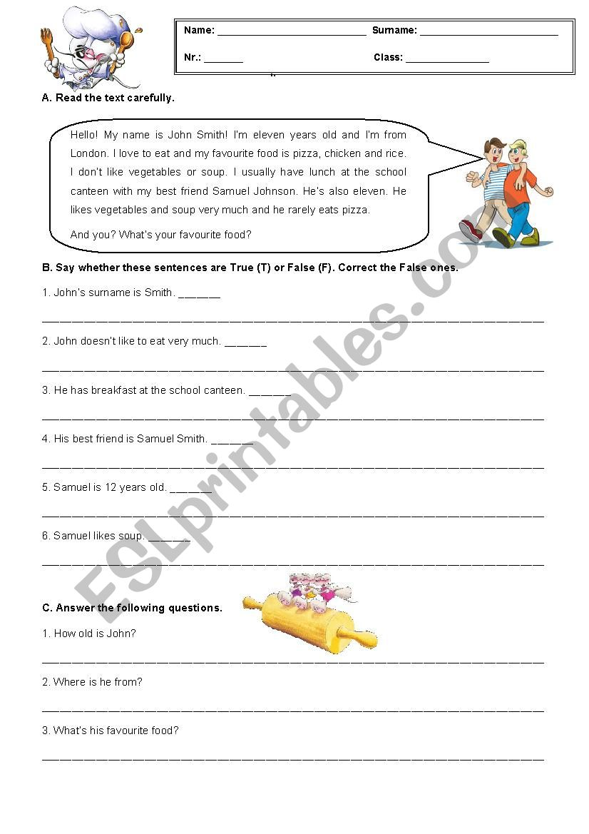 5th Grade Test about Food  worksheet