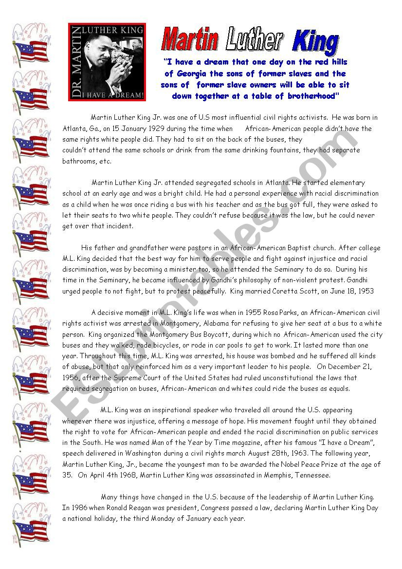 Martin Luther King Esl Worksheet By Angeh