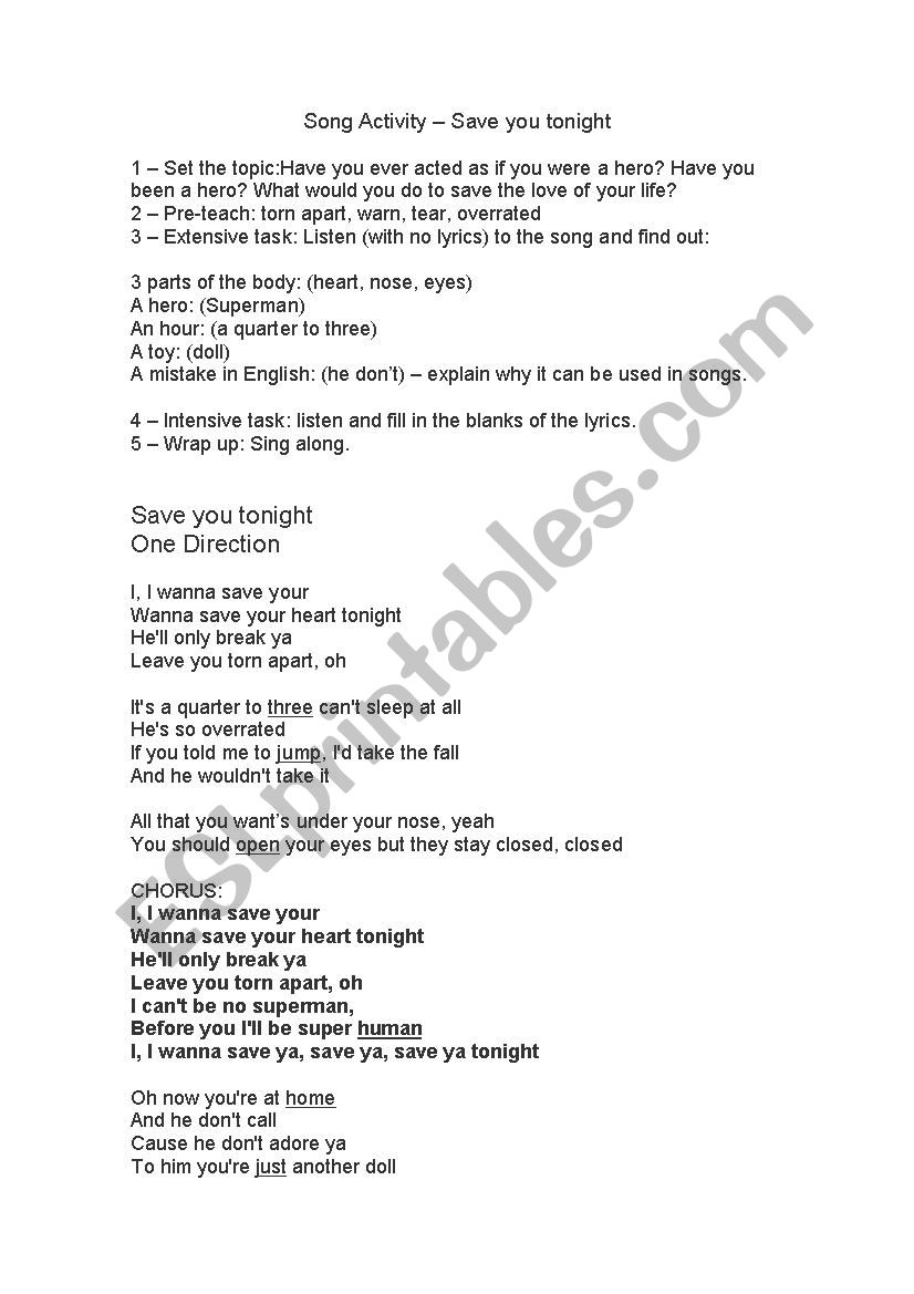 Song Activity + plan - One Direction - ESL worksheet by