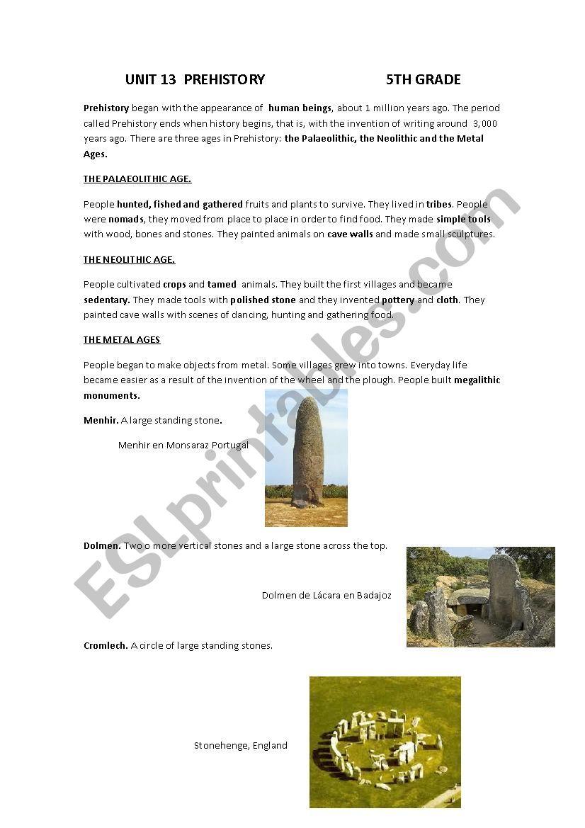 prehistory worksheet