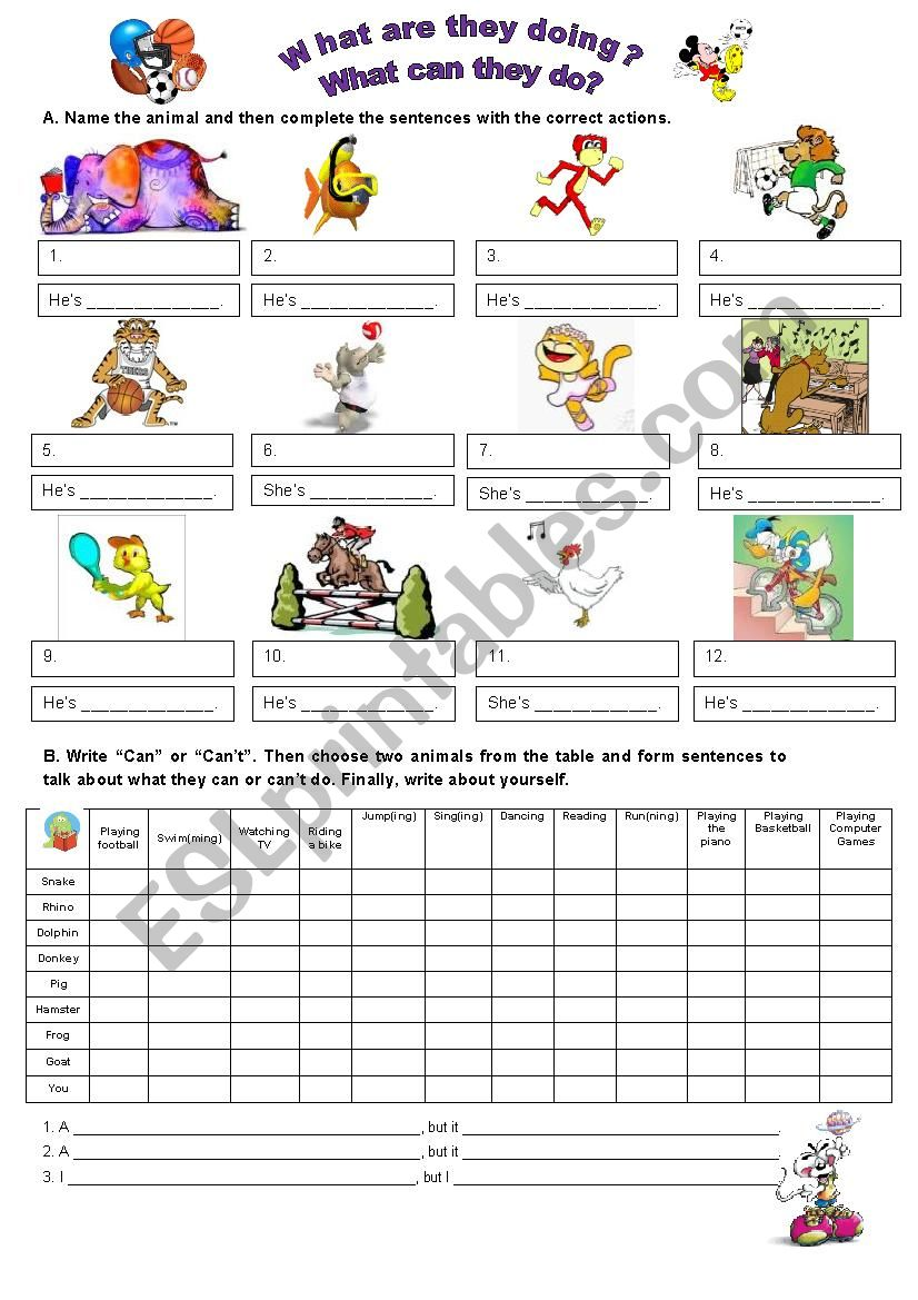 ANIMALS & ACTIONS worksheet