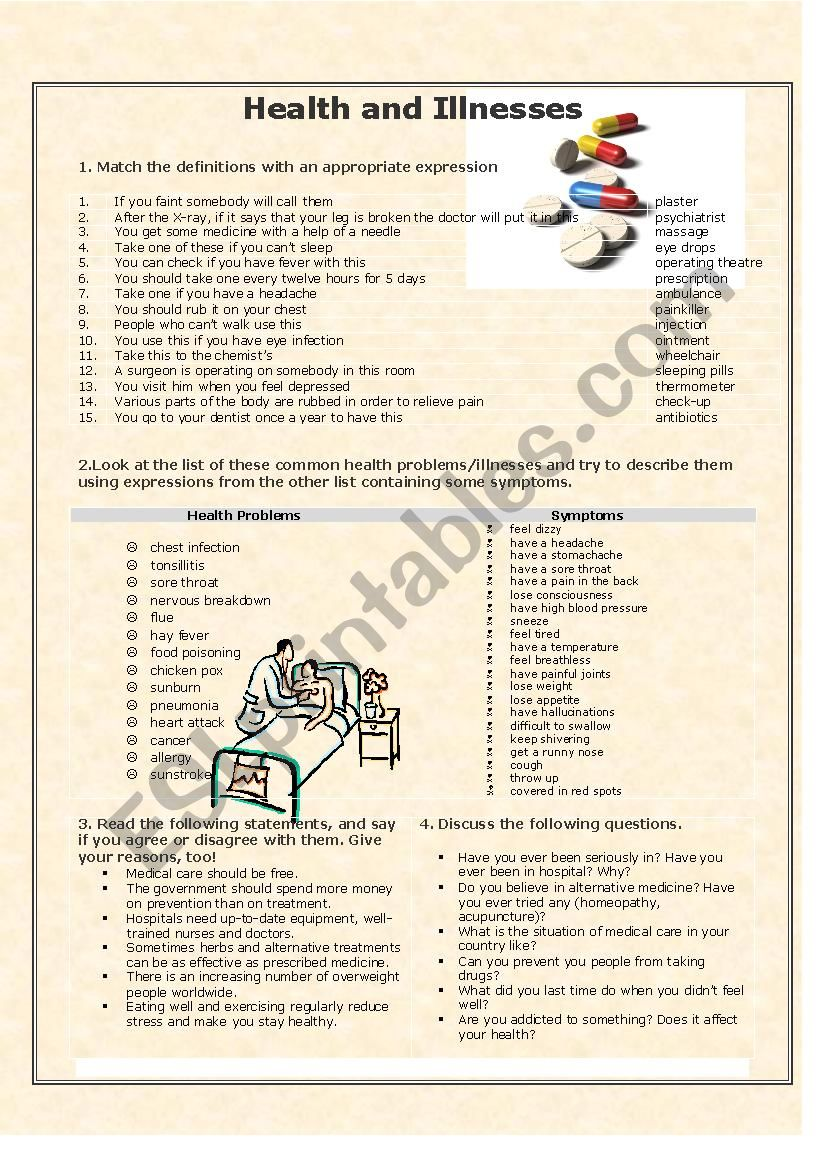 Health and illnesses worksheet