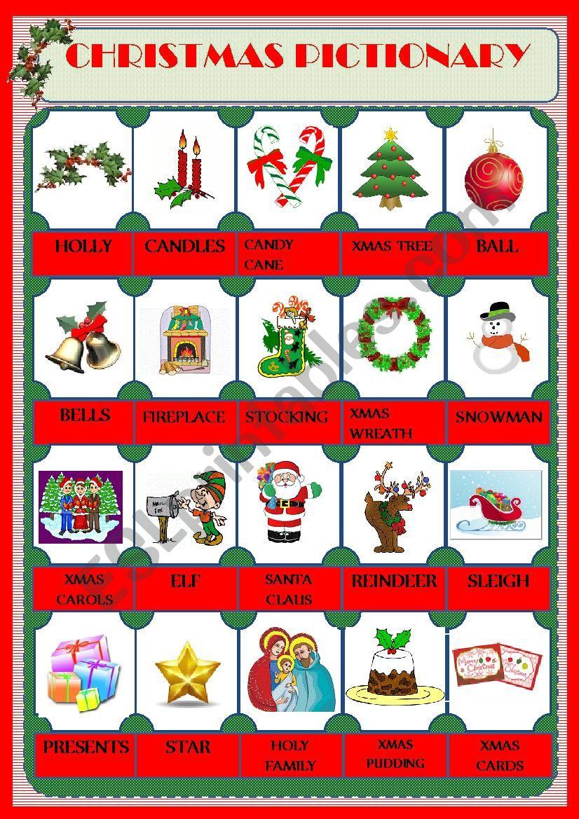Christmas Pictionary.Christmas Pictionary Esl Worksheet By Marilia Gomes