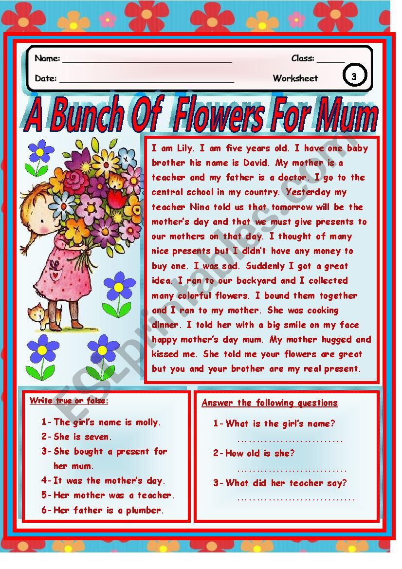 A  Bunch Of  Flowers For  Mum worksheet