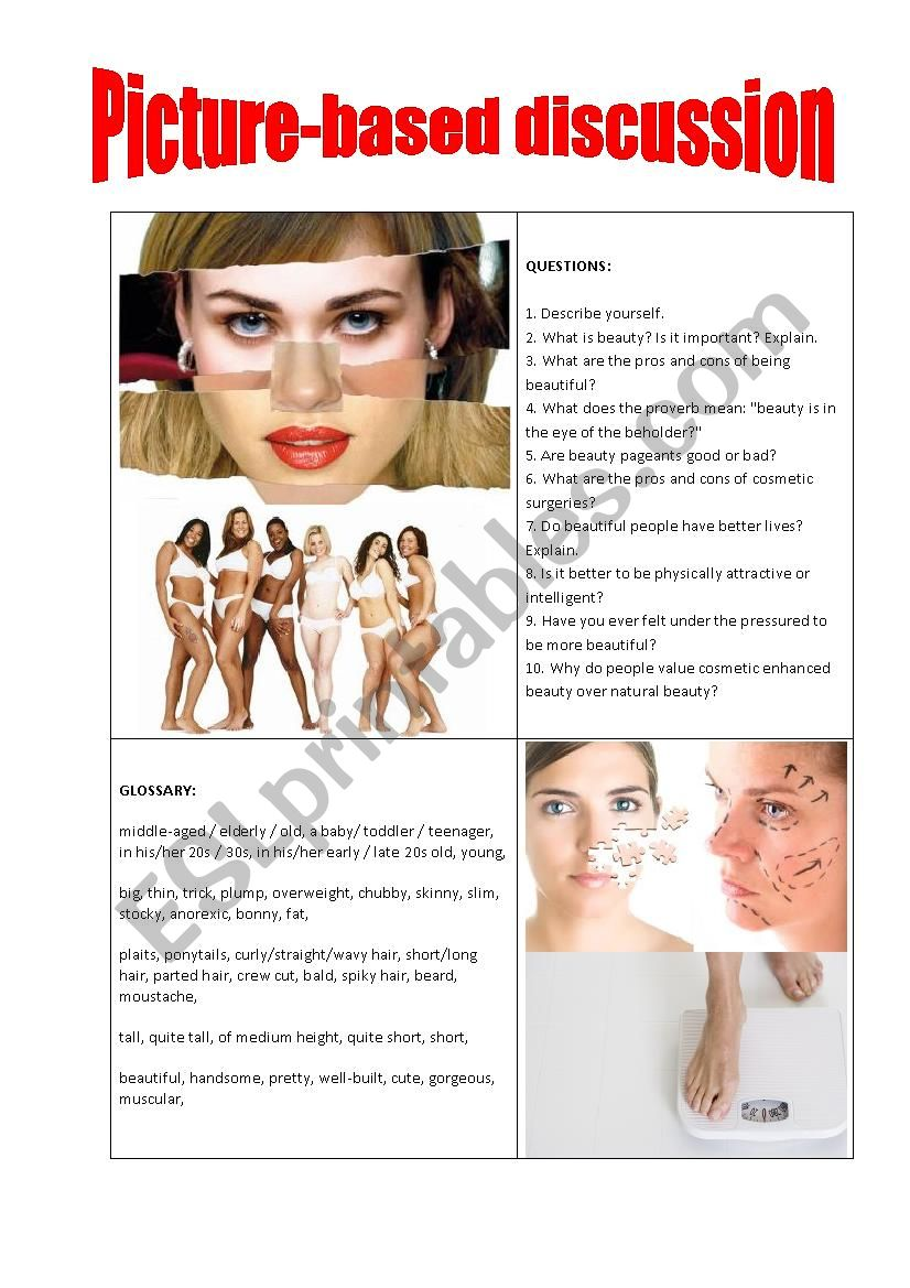 Picture-based discussion physical appearance/beauty
