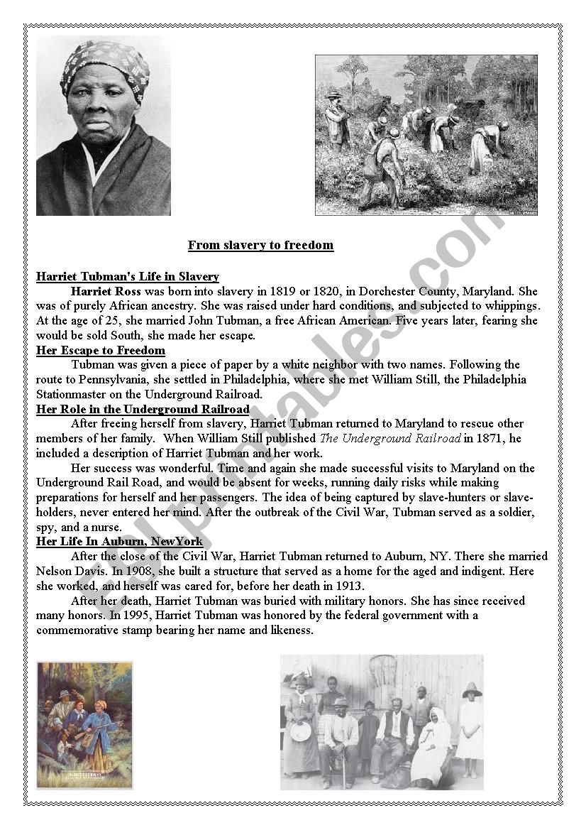 photo about Harriet Tubman Printable Worksheets named Harriet Tubman - ESL worksheet by means of Darlamama