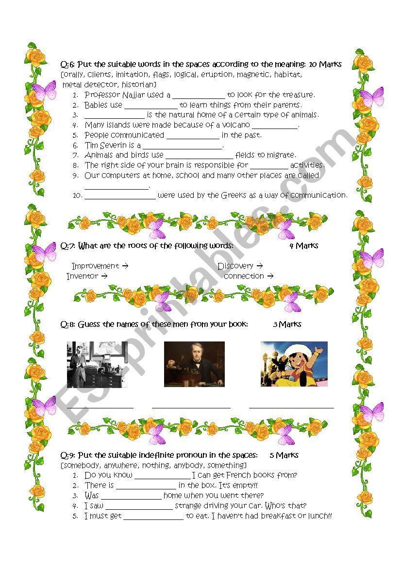 8th grade final exam - ESL worksheet by DeGeneres