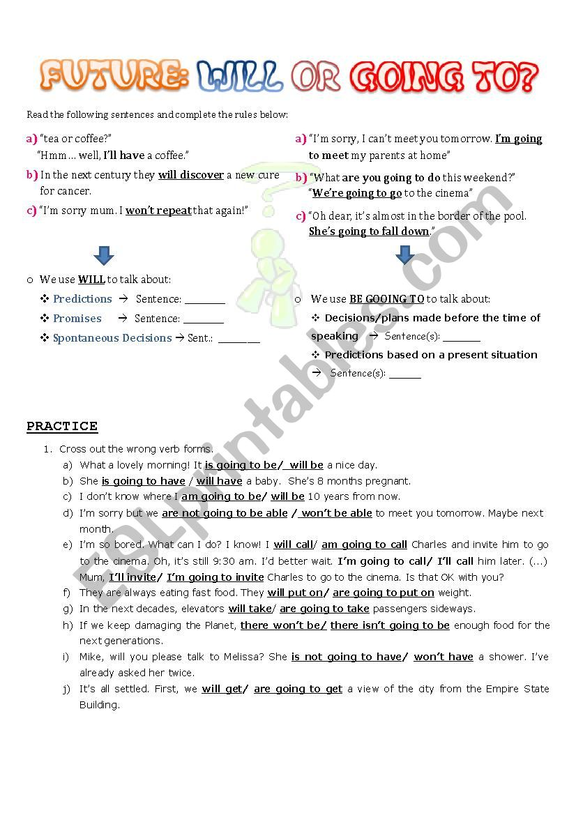 will or going to? worksheet