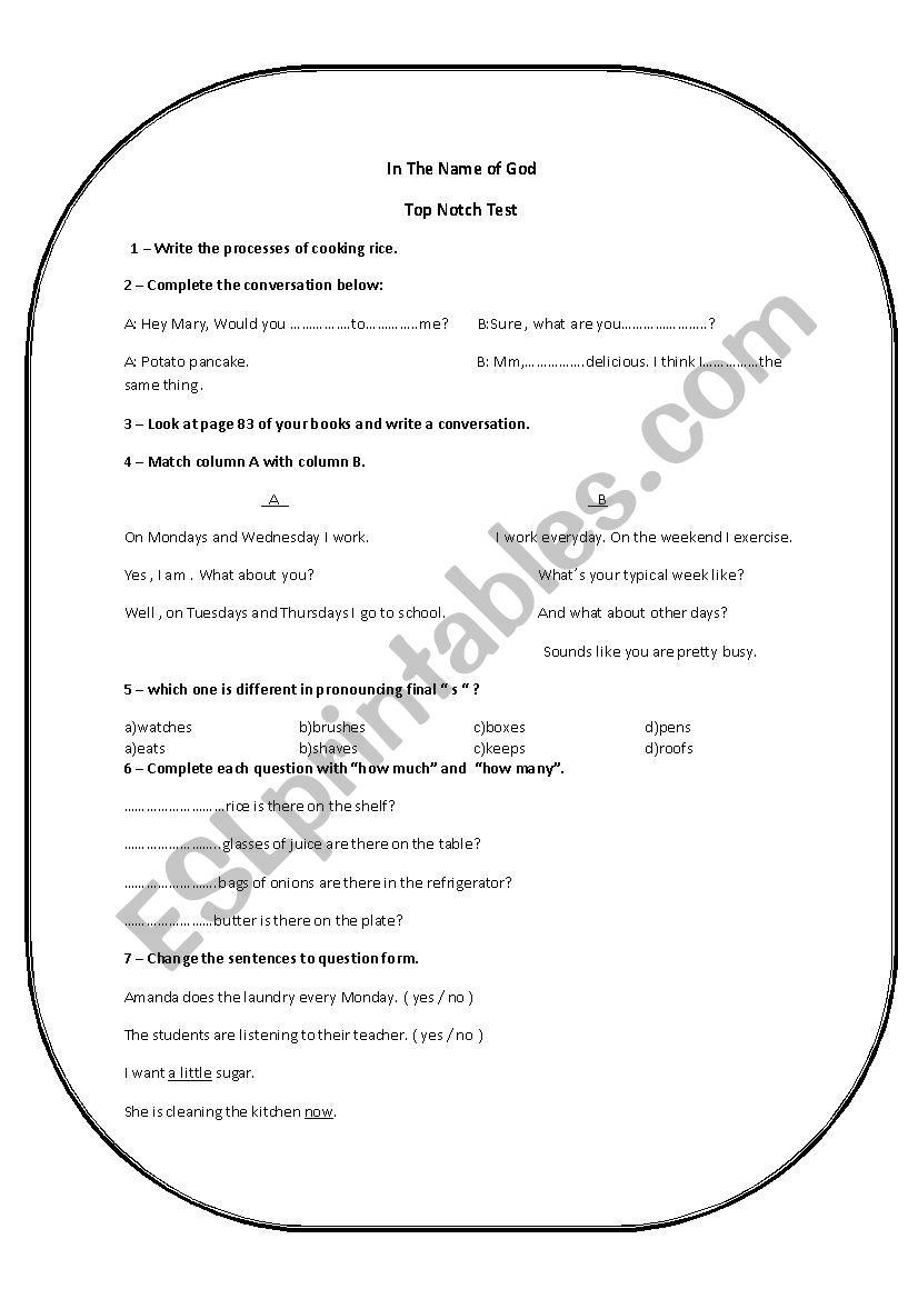 Top Notch Final Wxam worksheet