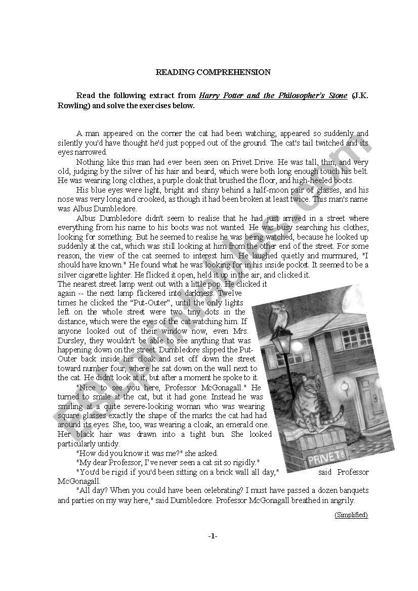 - Harry Potter - Reading Comprehension - ESL Worksheet By Noepas