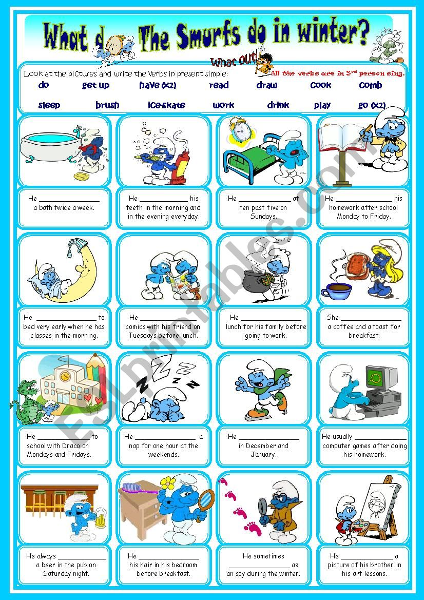 The Smurfs daily routine third person singular