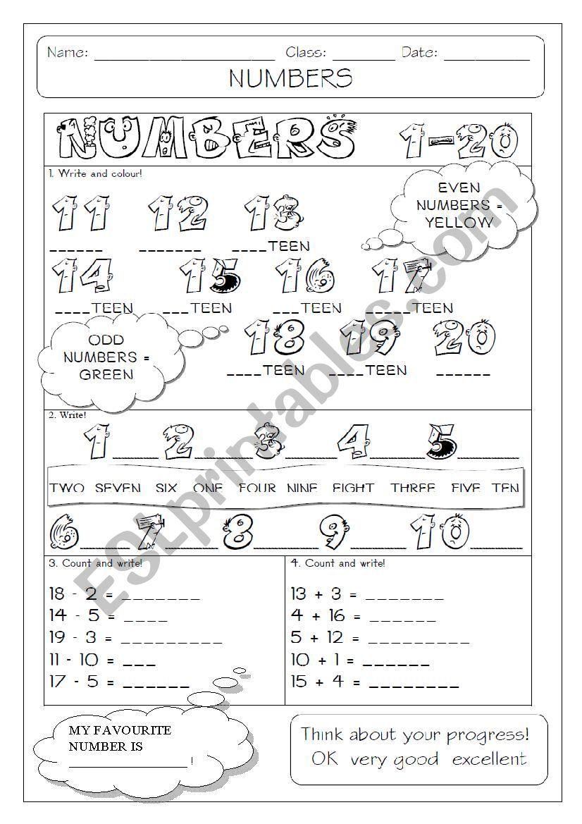 numbers 1-20 worksheet